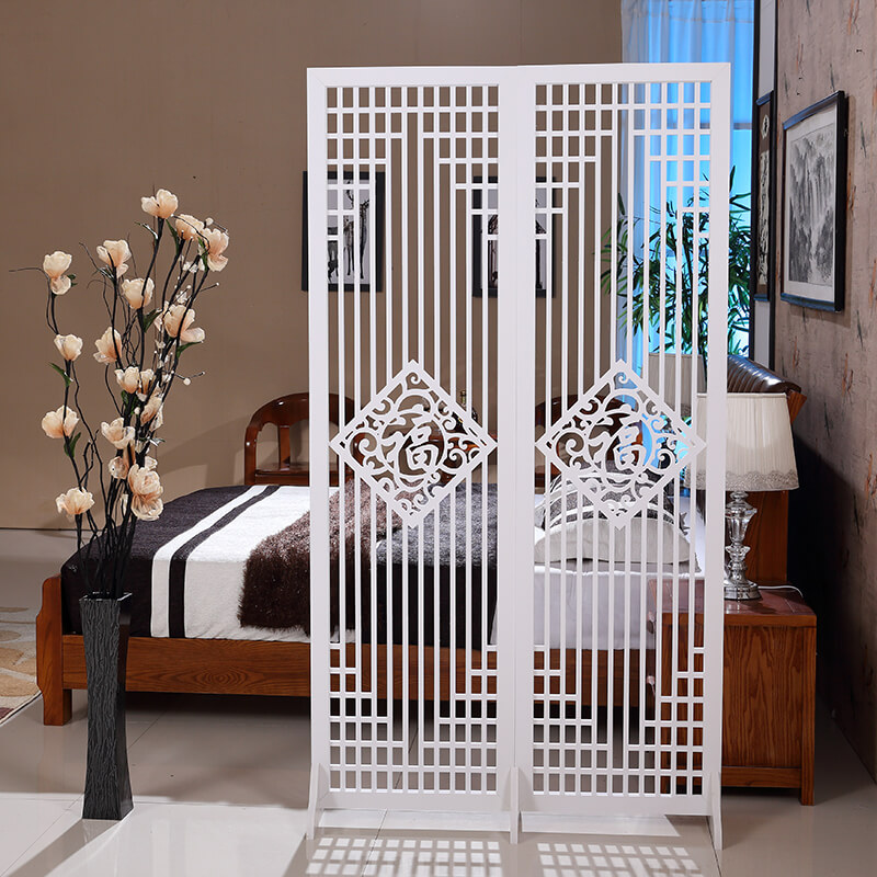 Vách ngăn phòng khách với phòng ngủ hình chữ phúc